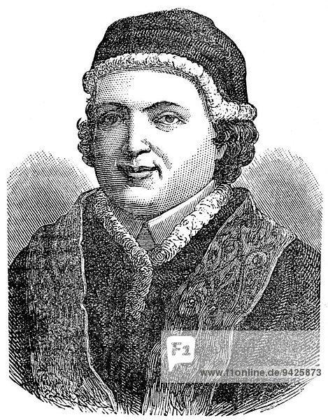 Papst Clemens XIII oder Clemens XIII  geboren Carlo della Torre di Rezzonico  Papst von 1758 bis 1769  historische Illustration
