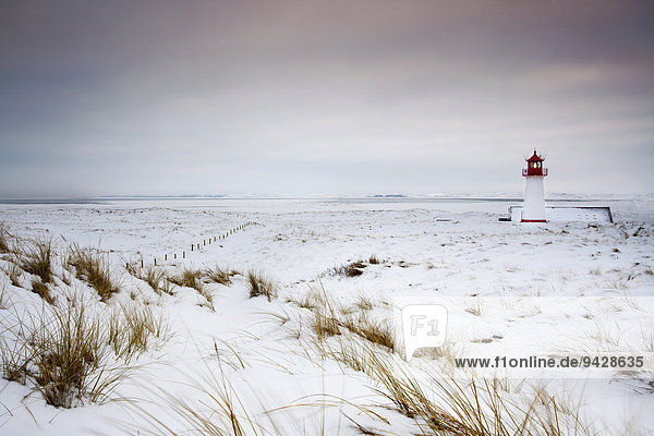 Snow on the island of Sylt at the Ellenbogen at the Lighthouse West,  Schleswig-Holstein,  Germany,  Europe