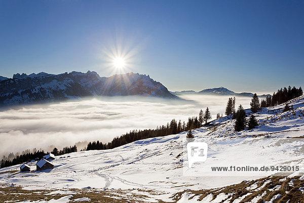 Blick von der Fähnerenspitze auf das Appenzellerland mit Alpstein und Alm bei Hochnebel und Tauwetter  Schweizer Alpen  Schweiz  Europa