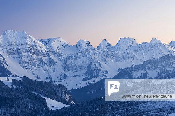 Abendstimmung auf der winterlichen Hochalp  Alm  in den Schweizer Alpen  Alpsteingebiet mit Säntis  Schweiz  Europa