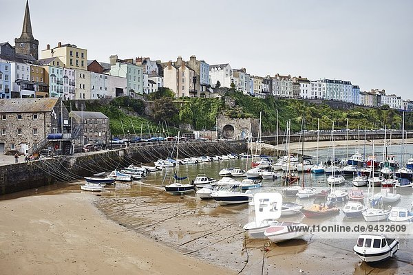 View of beach  harbor and boats  Tenby  Wales