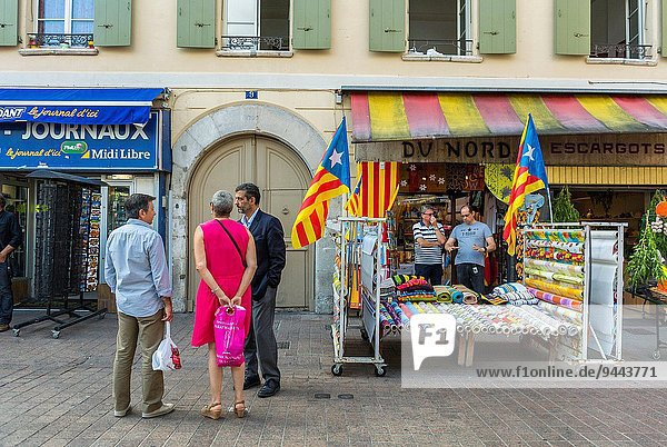 Perpignan  France  Street Scenes  Town Square  Group People Talking  Front of French Hardwares store