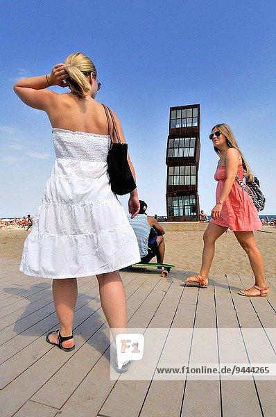 sternförmig Skulptur Strand Wunde Barcelona Katalonien Spanien