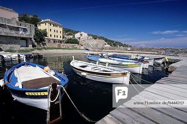 fishing boats in the harbour of Erbalunga  commune of Brando  Cap Corse  Haute-Corse  Northern Corsica  France  Europe.