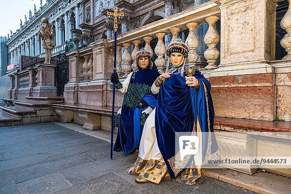 A masked couple at the carnival in Venice  Italy  Europe