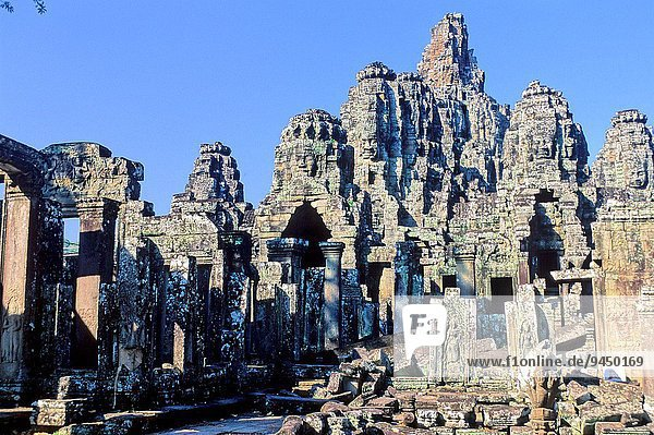 Bayon Buddhist temple in Angkor Thom  the capital city of the Khmer empire  XIIth century. Angkor  Siem Reap Province  Cambodia
