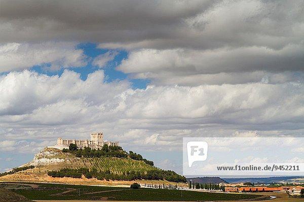 Castle. Peñafiel village. Ribera de Duero Wine region. Valladolid. Castile and Leon. Spain  Europe.