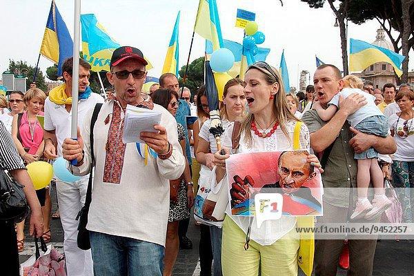 Rom Hauptstadt Ruhe Gemeinschaft Ukraine Demonstration Italienisch Italien September