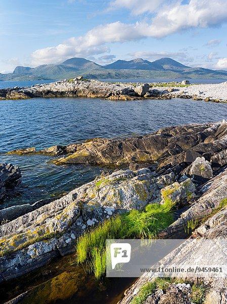 nahe Anschnitt Europa Küste Insel Hebriden Juli Schottland