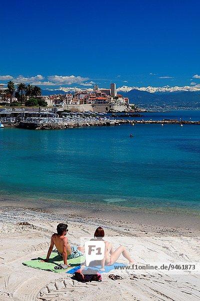 Frankreich Berg Schnee Hintergrund Provence - Alpes-Cote d Azur Antibes