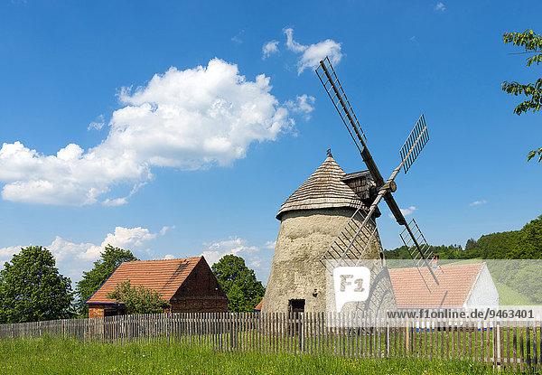 Windmühle  Kuzelov  Okres Hodonín  Südmähren  Tschechien  Europa