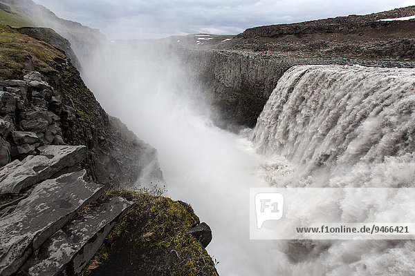 Waterfall  spray  Dettifoss  Iceland  Europe