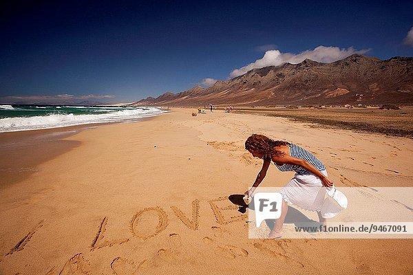 Frau Strand Kanaren Kanarische Inseln