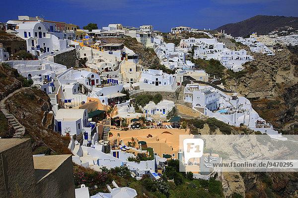 Townscape  Santorini  Fira  Santorini  Cyclades  Aegean Sea  Greece  Europe