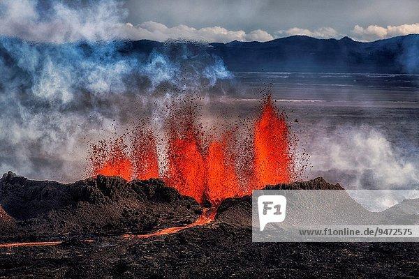 nahe Vulkanausbruch Ausbruch Eruption Vulkan Bewegung eindringen Start 3 Spalt Island