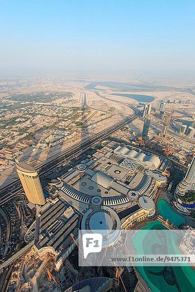 Sonnenuntergang, Gebäude, Erde, Ansicht, hoch, oben, Dubai, neu