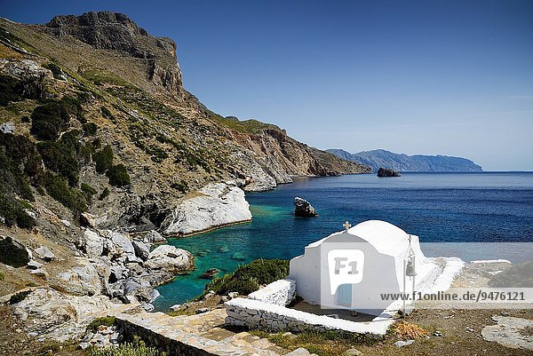 Strand klein Kirche Insel Griechenland Ägäisches Meer Ägäis griechisch