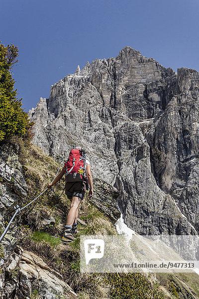 Bergsteiger beim Aufstieg auf den Lampskopf über den Klettersteig in Pflersch  hinten der Tribulaun  Goglberg  Pflerscher Tal  Wipptal  Brenner  Eisacktal  Südtirol  Trentino-Südtirol  Italien  Europa