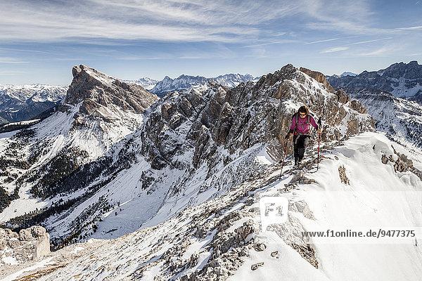 Bergsteiger beim Aufstieg auf den Tullen über den Günther Messner Steig im Villnösstal  hier auf dem Gipfelgrat  hinten der Peitlerkofel  Dolomiten  Villnöss  Eisacktal  Südtirol  Trentino-Alto Adige  Italien  Europa
