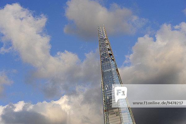 Shard Wolkenkratzer  South Bank  Southwark  London  England  Großbritannien  Europa