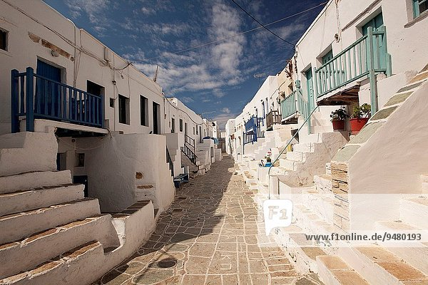 Street with old Cyclades houses in town center Kastro  Folegandros Cyclades Islands  Greek Islands  Greece  Europe.