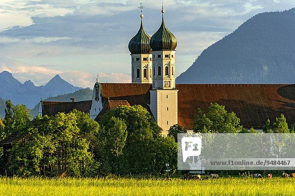 Basilika St. Benedikt  Benediktinerabtei Kloster Benediktbeuern  hinten rechts Herzogstand der Voralpen  ganz hinten Arnspitzgruppe im Wettersteingebirge der Alpen  Benediktbeuern  Oberbayern  Bayern  Deutschland  Europa