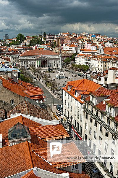 View on the old town of Lisbon with Praca Dom Pedro IV aka Rossio  Baixa  Portugal  Europe.