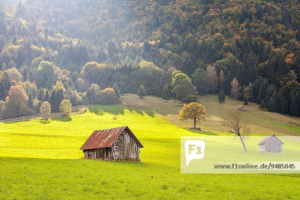 nahe Frankreich Dorf Feld Kompott Bergmassiv Savoie