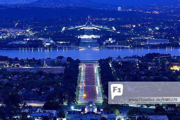 Erhöhte Ansicht Aufsicht Canberra Hauptstadt Wohnhaus Morgendämmerung Parlamentsgebäude Berg Aktfotografie Akt Australien Australisches Hauptstadtterritorium ACT