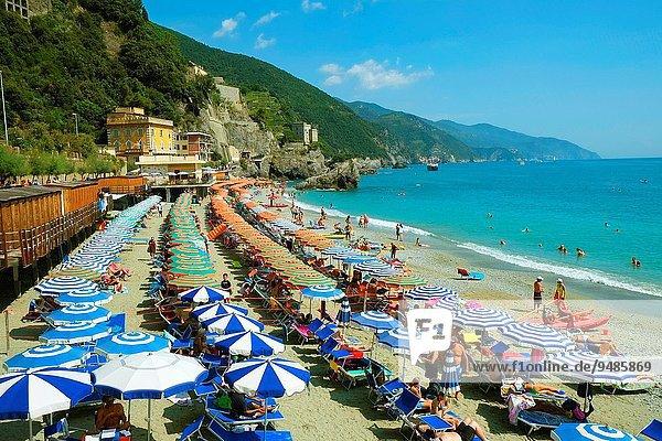 Monterosso Beach Umbrellas Cinque Terre Italy Italian Riviera Liguria Europe Ligurian Sea.