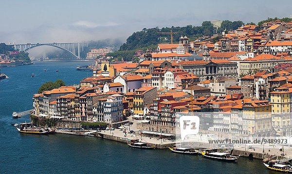 On background Arrábida bridge  Picture take from Luís I or Luiz I Bridge  Douro river  Porto  Portugal  Europe.