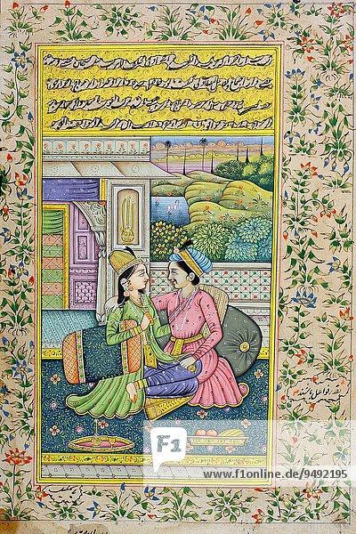 Gerichtsgebäude Frau Mann Tischset Modell spät Reichtum früh streichen streicht streichend anstreichen anstreichend Jahrhundert Indien Miniatur Rajasthan