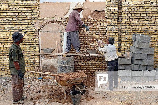 Wand arbeiten Gebäude Ziegelstein 3 Asien Iran
