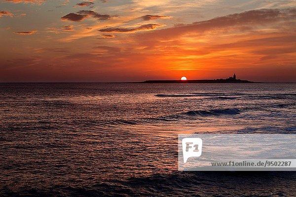 über Sonnenaufgang Meer Insel England Northumberland