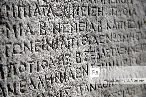 Stein Inschrift Griechenland schreiben UNESCO-Welterbe schnitzen antik Mittelgriechenland griechisch