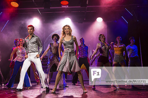 'Tino Andrea Honegger and Julia Fechter starring as Tony Manero and Stephanie Mangano in the musical ''Saturday Night Fever''  Le Théâtre  Kriens  Lucerne  Switzerland  Europe'