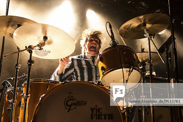 Mario Goossens  drummer of the Belgian rock band Triggerfinger  live in the Schüür  Lucerne  Switzerland  Europe