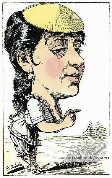 Anne Marie-Louise Damiens  stage name Anna Judic  a French comic actress  caricature  1882  by Alphonse Hector Colomb pseudonym B. Moloch  a French caricaturist