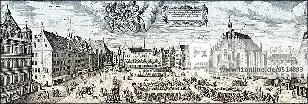 Medieval Cityscape of Nuremberg  main market  16th Century  historical illustration  Bavaria  Germany  Europe