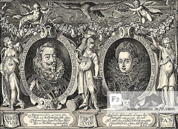 Emperor Matthias von Habsburg and Empress Anna  historical illustration