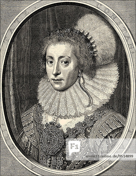 Elizabeth Stuart  Queen of Bohemia  Winter Queen  1596-1662  Princess of England and Scotland and Electress Palatine  Queen of Bohemia  historical illustration