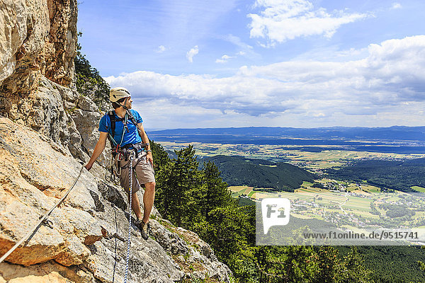 Climber on the Eichertsteig via ferrata  Grünberg  Schneeberg  Austria  Europe