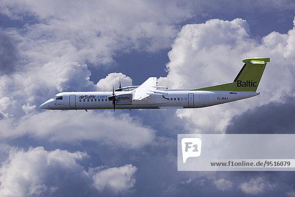 Aircraft YL-BAJ Air Baltic De Havilland Dash 8 in flight