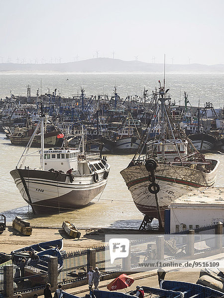 Fishing boats in the port of Essaouira  Unesco World Heritage Site  Morocco  Africa