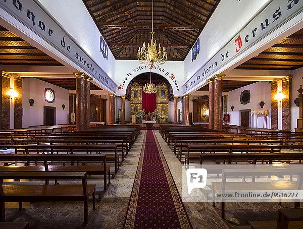 Innenansicht  Kirche Nuestra Señora de Montserrat am Plaza de Montserrat  San Andrés y Sauces  San Andres  Los Sauces  La Palma  Kanarische Inseln  Spanien  Europa