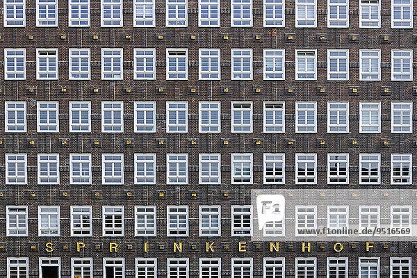 Fensterreihen  Kontorhaus Sprinkenhof  Hamburg  Deutschland  Europa