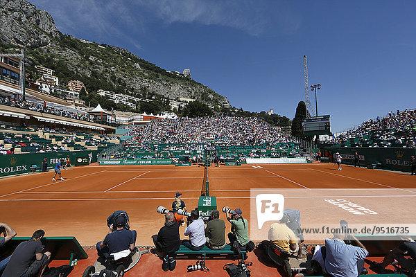 Center Court des Monte Carlo Country Club während des Monte-Carlo Rolex Masters Tennisturniers 2014  Fürstentum Monaco