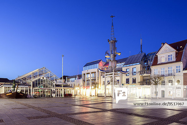 Aurich market square with the market hall and the Sous Tower artwork  Aurich  East Frisia  Lower Saxony  Germany  Europe