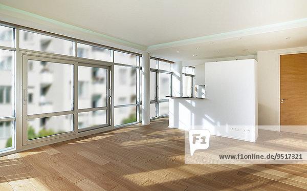 Leerer Raum  Wohnzimmer  weiße Wände  Parkettboden