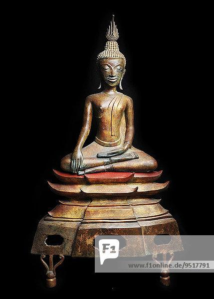 Alte Buddha-Skulptur aus Bronze  aus Laos